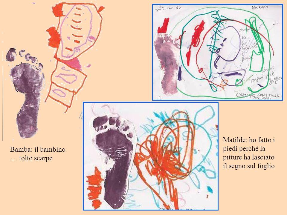 Bamba: il bambino … tolto scarpe Matilde: ho fatto i piedi perché la pitture ha lasciato il segno sul foglio