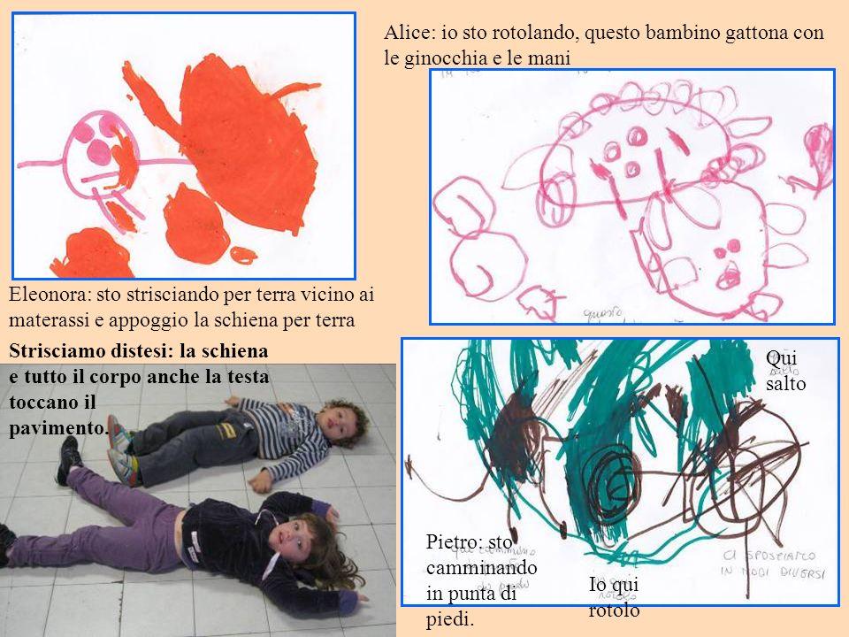 Eleonora: sto strisciando per terra vicino ai materassi e appoggio la schiena per terra Alice: io sto rotolando, questo bambino gattona con le ginocchia e le mani Pietro: sto camminando in punta di piedi.