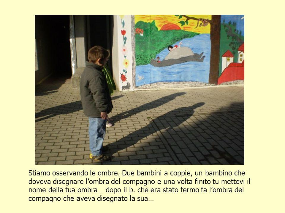 Stiamo osservando le ombre. Due bambini a coppie, un bambino che doveva disegnare lombra del compagno e una volta finito tu mettevi il nome della tua