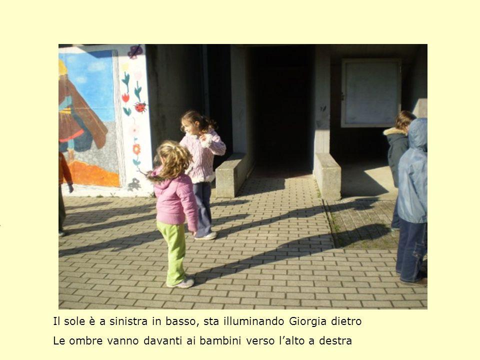 Il sole è a sinistra in basso, sta illuminando Giorgia dietro Le ombre vanno davanti ai bambini verso lalto a destra