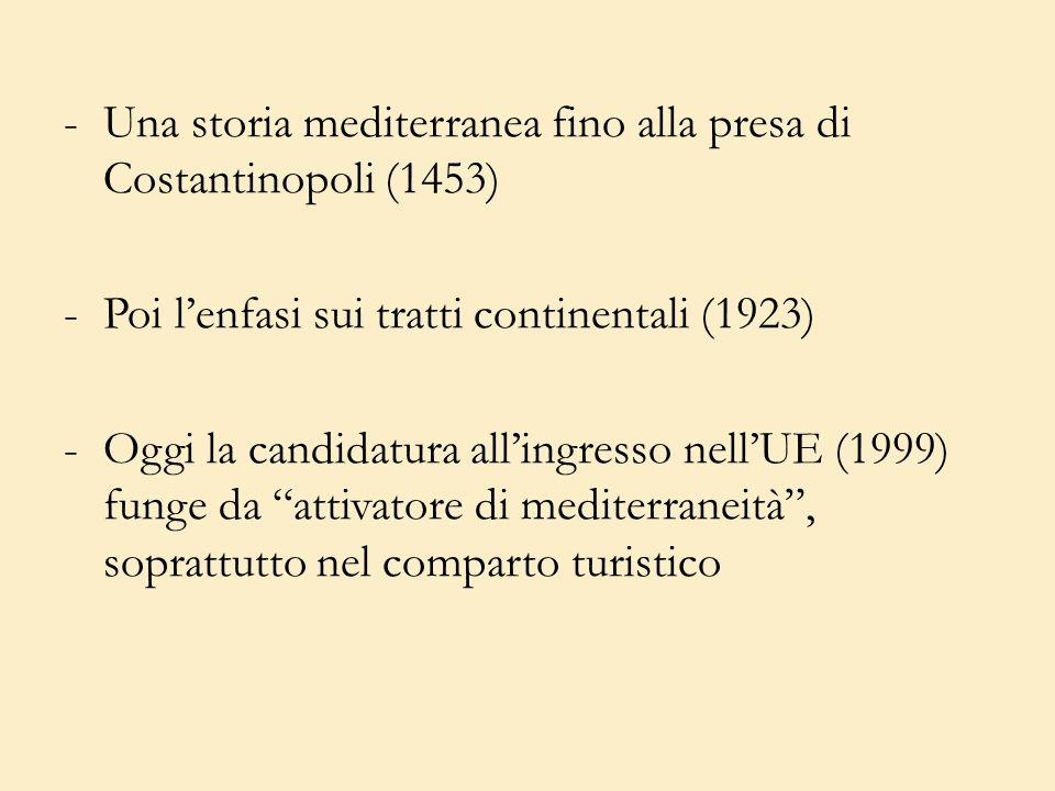 -Una storia mediterranea fino alla presa di Costantinopoli (1453) -Poi lenfasi sui tratti continentali (1923) -Oggi la candidatura allingresso nellUE (1999) funge da attivatore di mediterraneità, soprattutto nel comparto turistico