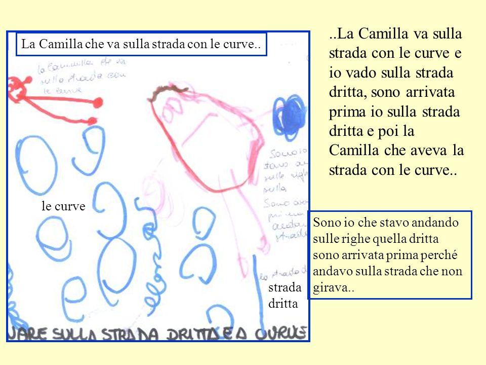 ..La Camilla va sulla strada con le curve e io vado sulla strada dritta, sono arrivata prima io sulla strada dritta e poi la Camilla che aveva la stra