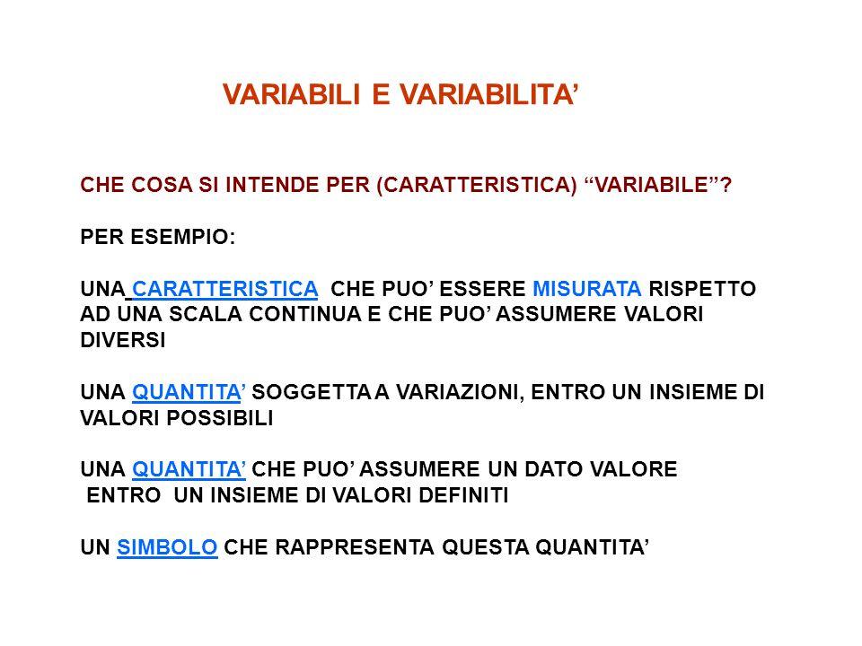 VARIABILI E VARIABILITA CHE COSA SI INTENDE PER (CARATTERISTICA) VARIABILE.