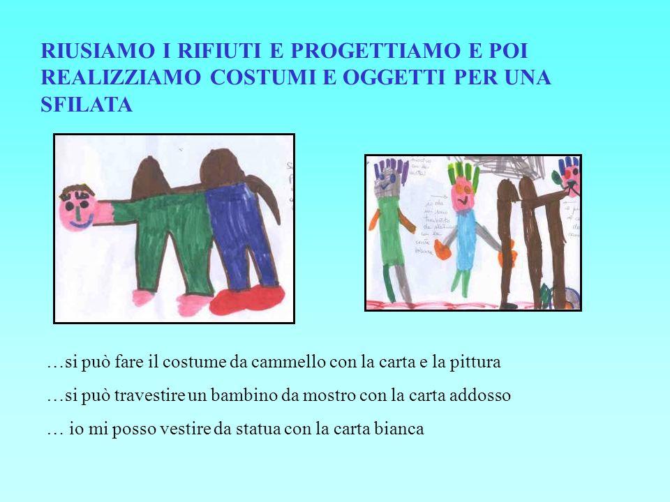 RIUSIAMO I RIFIUTI E PROGETTIAMO E POI REALIZZIAMO COSTUMI E OGGETTI PER UNA SFILATA …si può fare il costume da cammello con la carta e la pittura …si