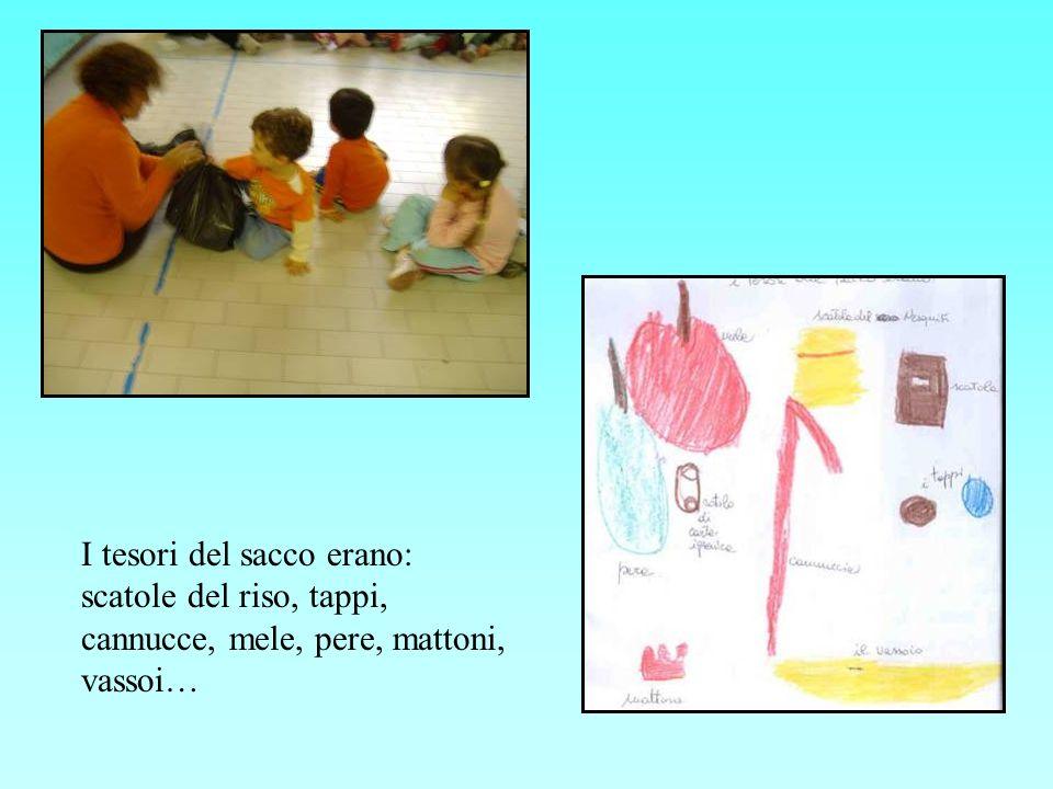 I tesori del sacco erano: scatole del riso, tappi, cannucce, mele, pere, mattoni, vassoi…