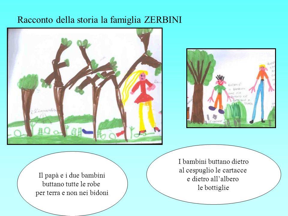 Racconto della storia la famiglia ZERBINI Il papà e i due bambini buttano tutte le robe per terra e non nei bidoni I bambini buttano dietro al cespugl
