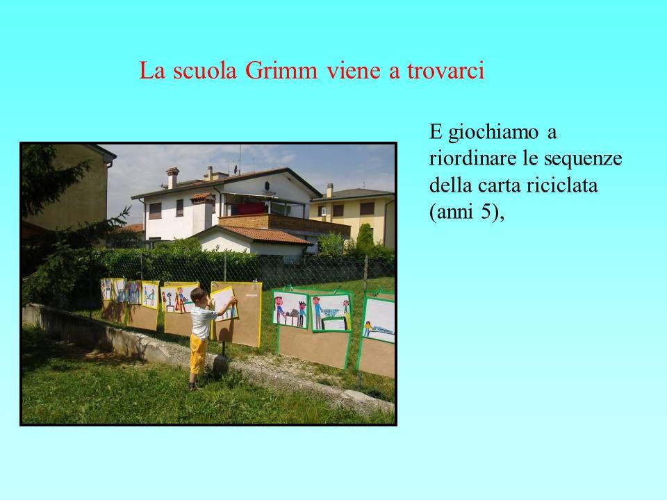 La scuola Grimm viene a trovarci E giochiamo a riordinare le sequenze della carta riciclata (anni 5),