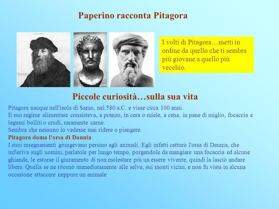 Paperino racconta Pitagora I volti di Pitagora…metti in ordine da quello che ti sembra più giovane a quello più vecchio.