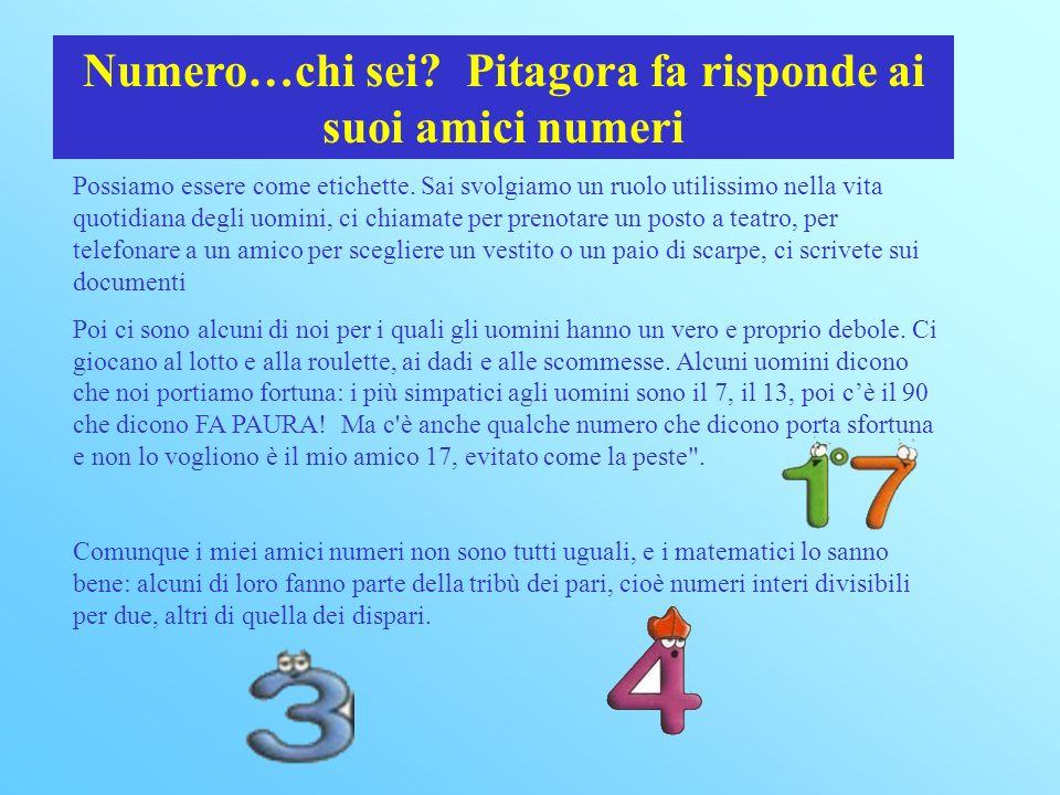Numero…chi sei.Pitagora fa risponde ai suoi amici numeri Possiamo essere come etichette.