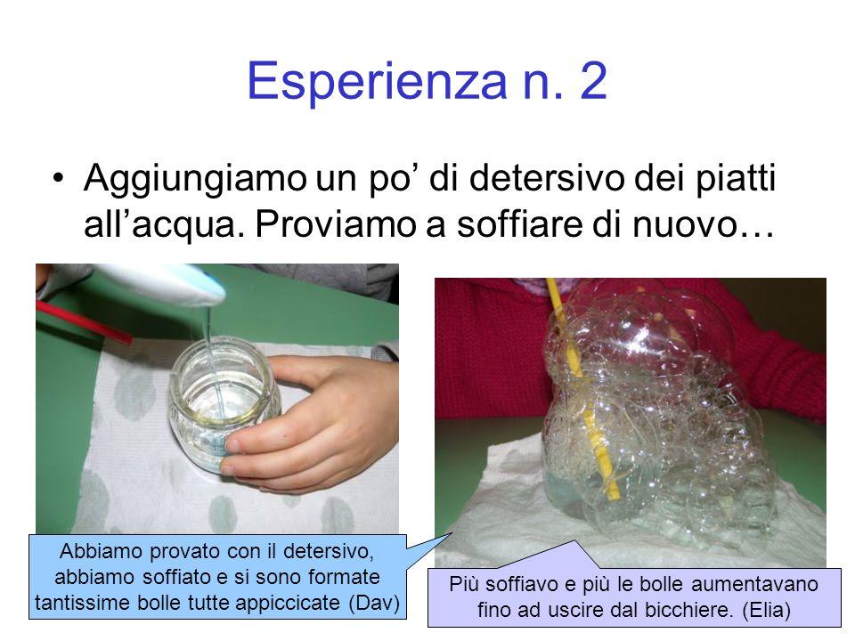 Esperienza n.2 Aggiungiamo un po di detersivo dei piatti allacqua.