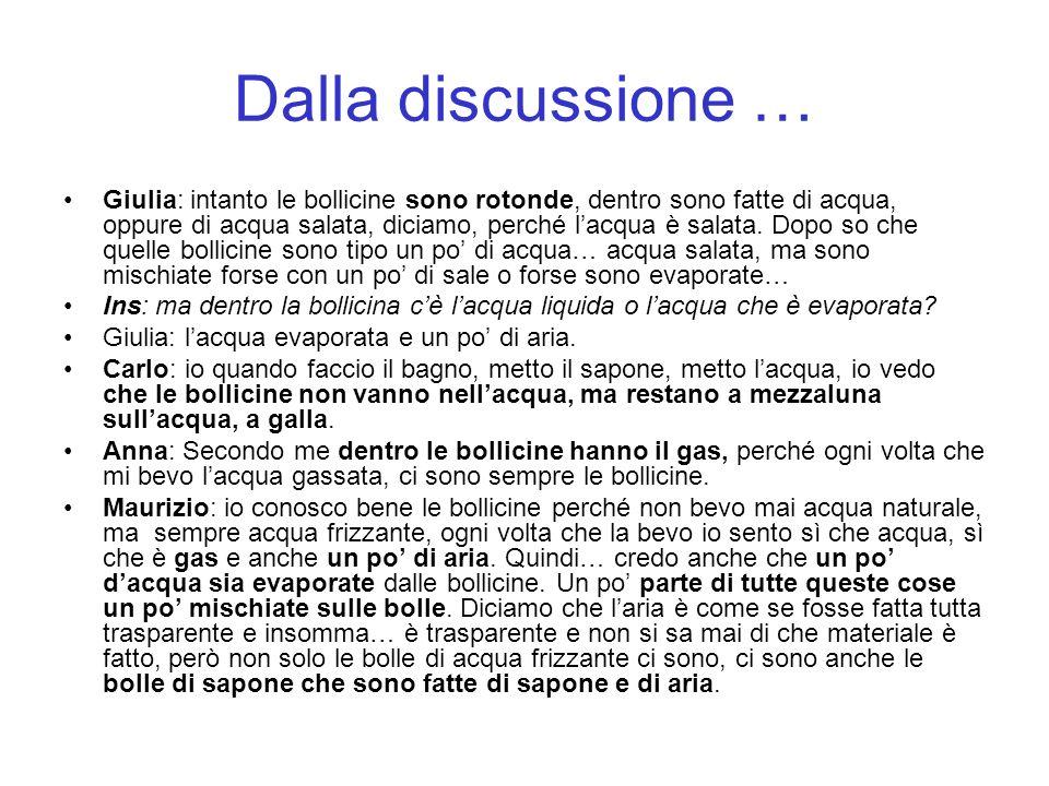 Dalla discussione … Giulia: intanto le bollicine sono rotonde, dentro sono fatte di acqua, oppure di acqua salata, diciamo, perché lacqua è salata.