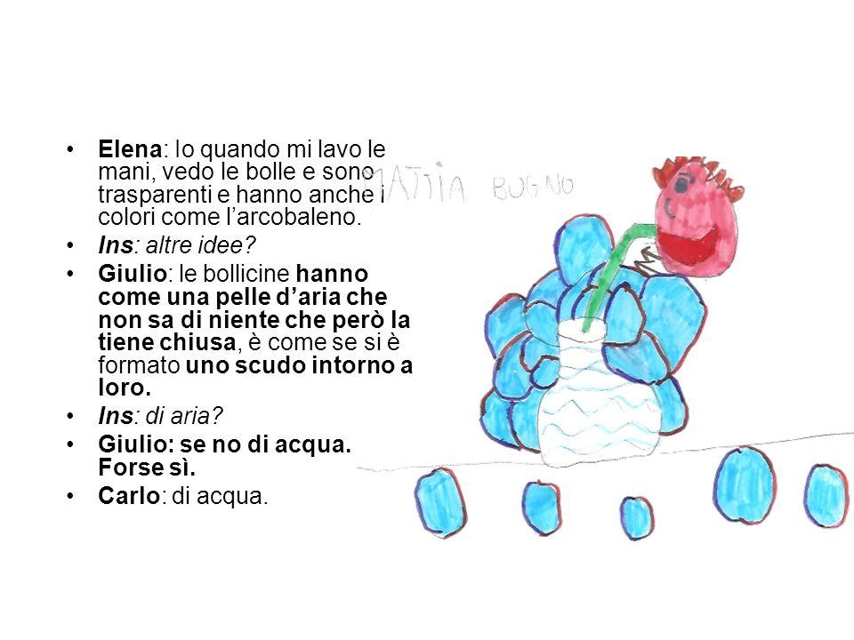Elena: Io quando mi lavo le mani, vedo le bolle e sono trasparenti e hanno anche i colori come larcobaleno.