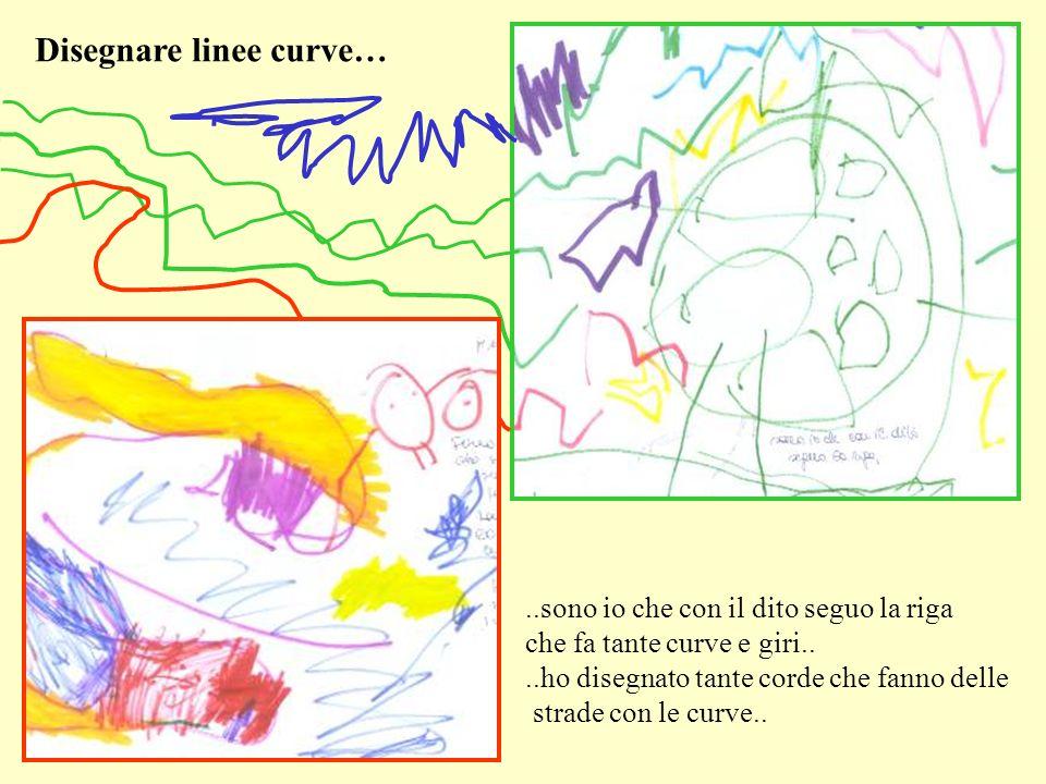 ..sono io che con il dito seguo la riga che fa tante curve e giri....ho disegnato tante corde che fanno delle strade con le curve.. Disegnare linee cu