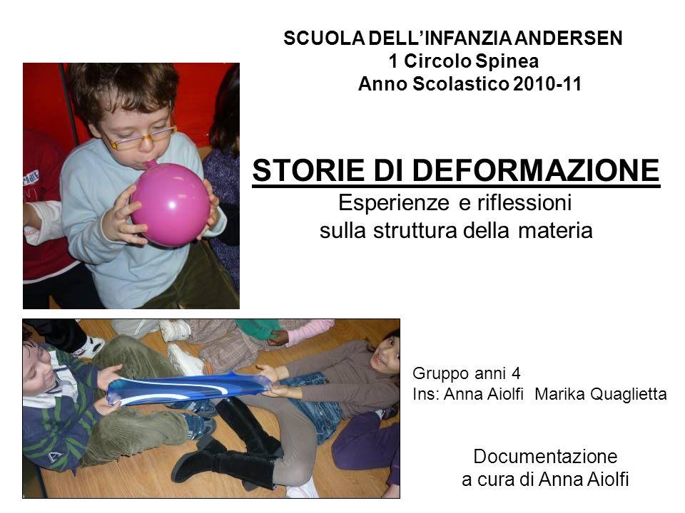 SCUOLA DELLINFANZIA ANDERSEN 1 Circolo Spinea Anno Scolastico 2010-11 STORIE DI DEFORMAZIONE Esperienze e riflessioni sulla struttura della materia Gr