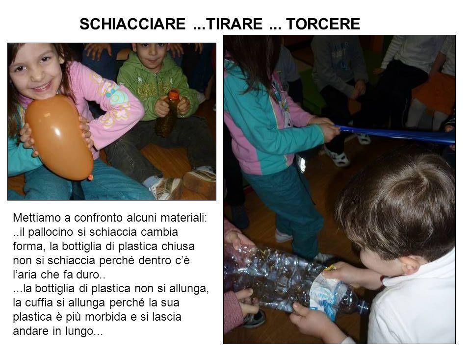 SCHIACCIARE...TIRARE... TORCERE Mettiamo a confronto alcuni materiali:..il pallocino si schiaccia cambia forma, la bottiglia di plastica chiusa non si