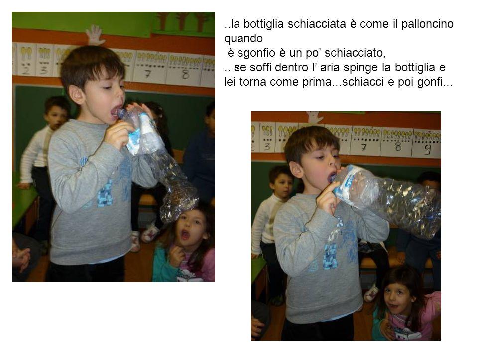 ..la bottiglia schiacciata è come il palloncino quando è sgonfio è un po schiacciato,.. se soffi dentro l aria spinge la bottiglia e lei torna come pr