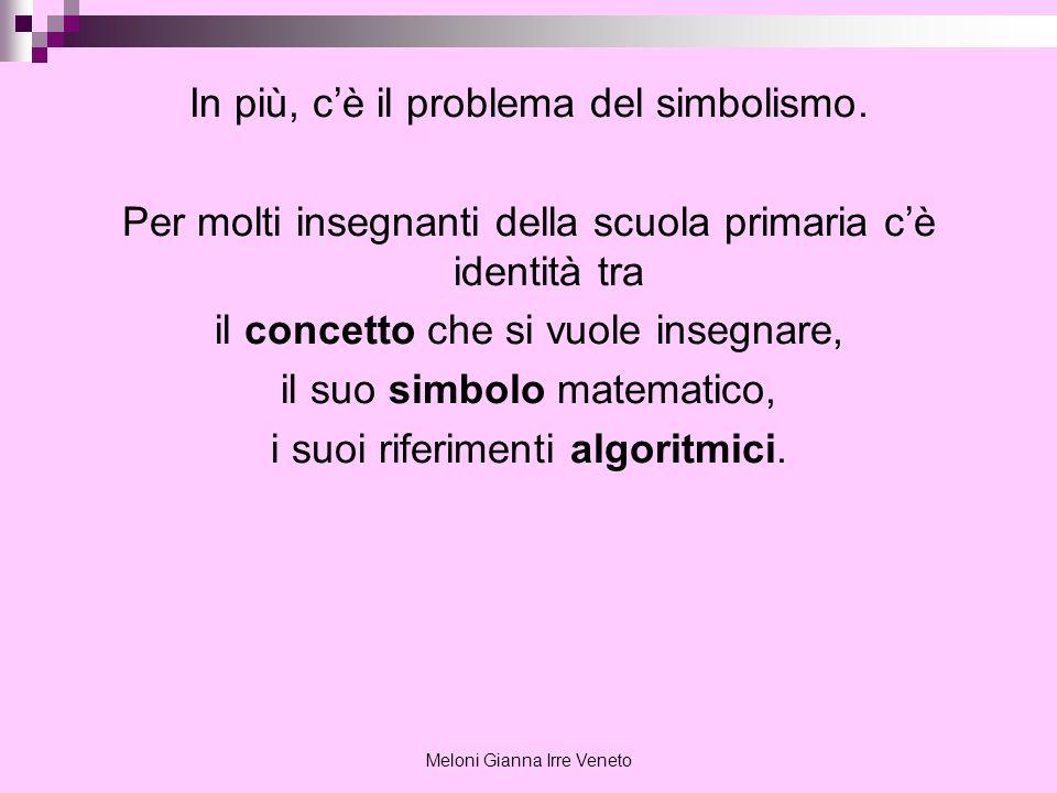 Meloni Gianna Irre Veneto In più, cè il problema del simbolismo. Per molti insegnanti della scuola primaria cè identità tra il concetto che si vuole i