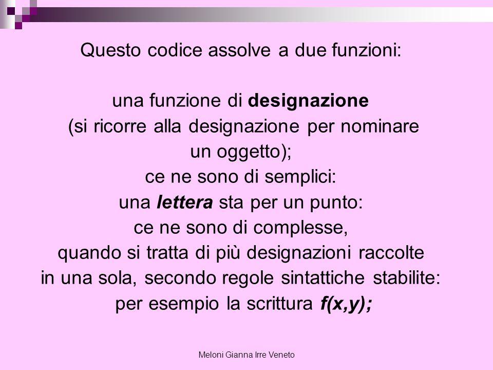 Meloni Gianna Irre Veneto Questo codice assolve a due funzioni: una funzione di designazione (si ricorre alla designazione per nominare un oggetto); c