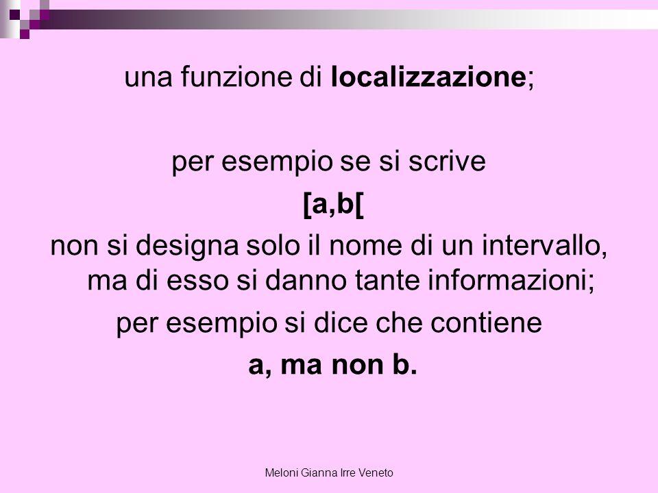 Meloni Gianna Irre Veneto una funzione di localizzazione; per esempio se si scrive [a,b[ non si designa solo il nome di un intervallo, ma di esso si d