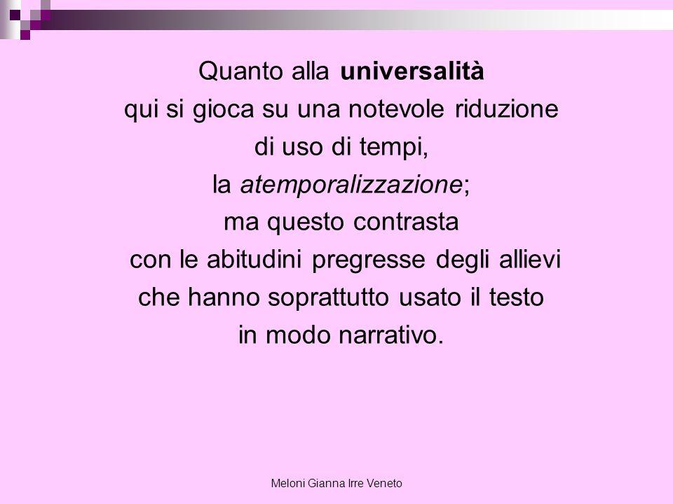 Meloni Gianna Irre Veneto Quanto alla universalità qui si gioca su una notevole riduzione di uso di tempi, la atemporalizzazione; ma questo contrasta