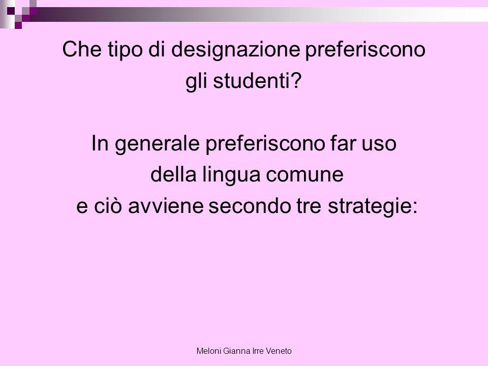 Meloni Gianna Irre Veneto Che tipo di designazione preferiscono gli studenti? In generale preferiscono far uso della lingua comune e ciò avviene secon