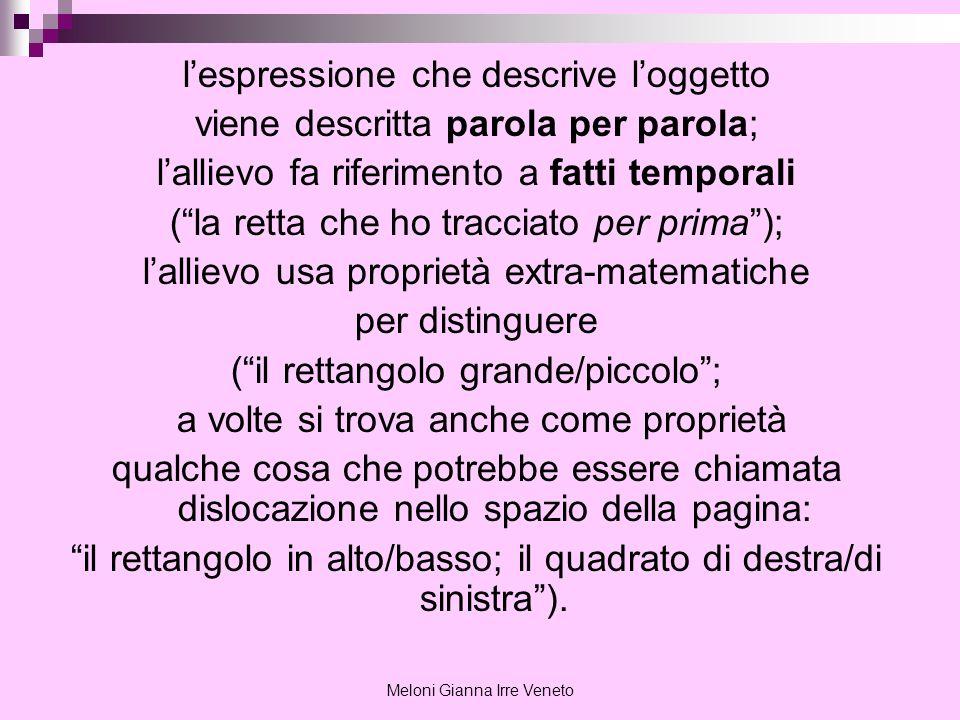 Meloni Gianna Irre Veneto lespressione che descrive loggetto viene descritta parola per parola; lallievo fa riferimento a fatti temporali (la retta ch