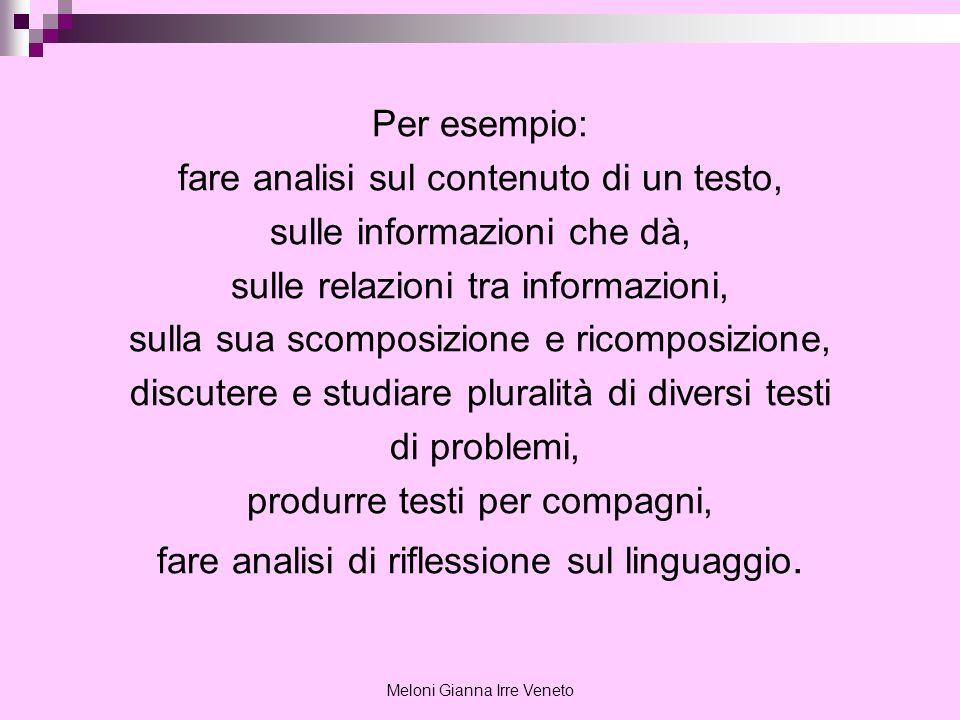 Meloni Gianna Irre Veneto Per esempio: fare analisi sul contenuto di un testo, sulle informazioni che dà, sulle relazioni tra informazioni, sulla sua
