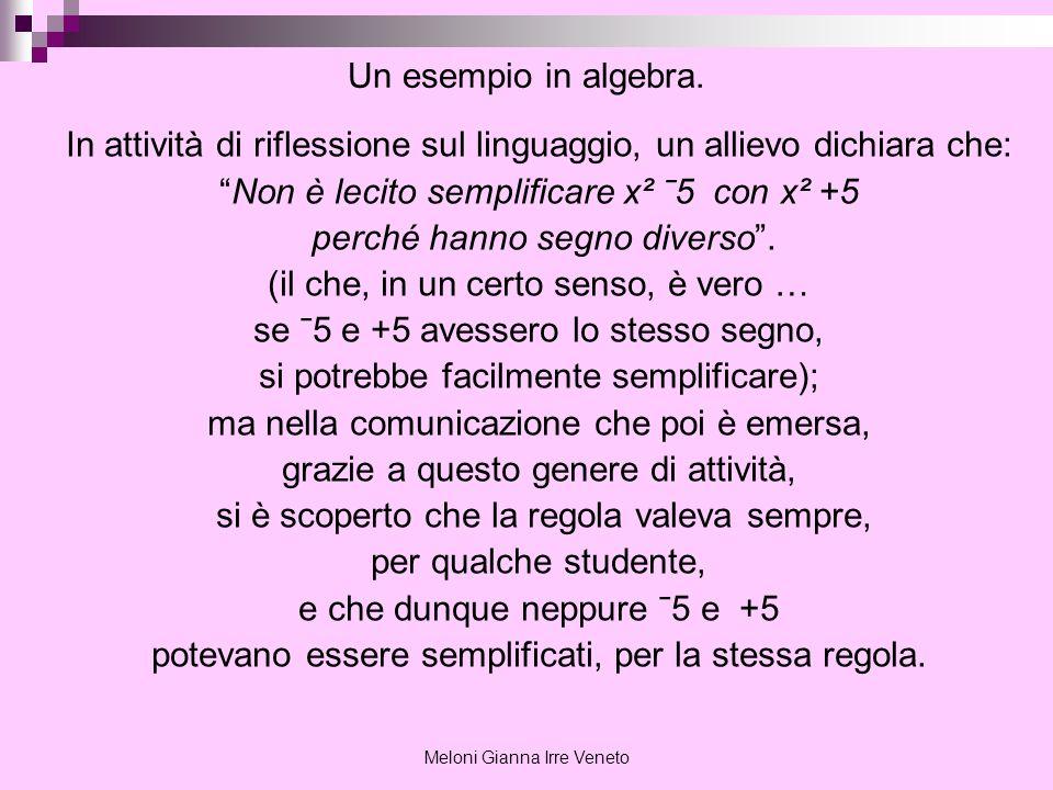 Meloni Gianna Irre Veneto Un esempio in algebra. In attività di riflessione sul linguaggio, un allievo dichiara che: Non è lecito semplificare x² ˉ5 c