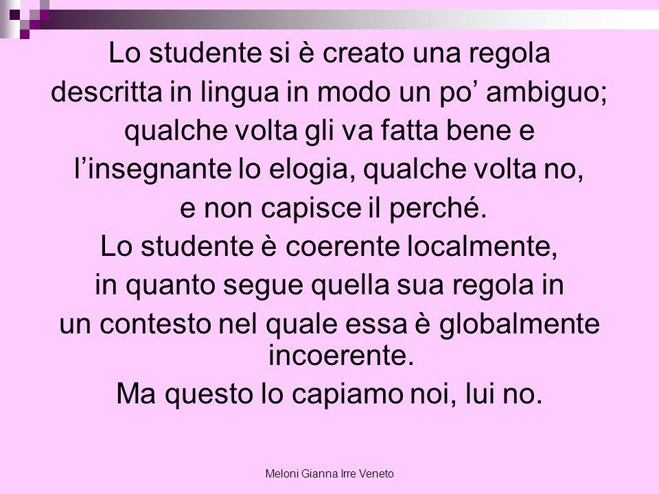 Meloni Gianna Irre Veneto Lo studente si è creato una regola descritta in lingua in modo un po ambiguo; qualche volta gli va fatta bene e linsegnante