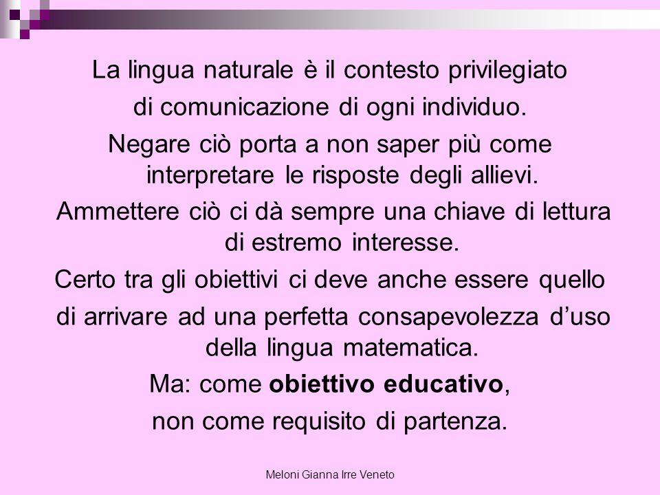 Meloni Gianna Irre Veneto La lingua naturale è il contesto privilegiato di comunicazione di ogni individuo. Negare ciò porta a non saper più come inte