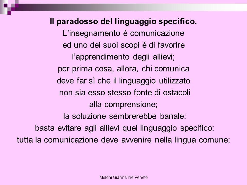 Meloni Gianna Irre Veneto Il paradosso del linguaggio specifico. Linsegnamento è comunicazione ed uno dei suoi scopi è di favorire lapprendimento degl