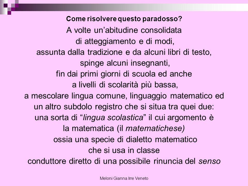 Meloni Gianna Irre Veneto Un esempio in algebra.