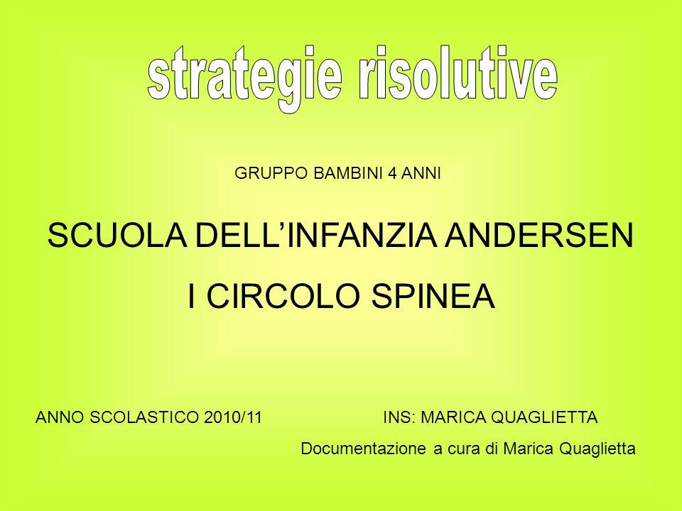 SCUOLA DELLINFANZIA ANDERSEN I CIRCOLO SPINEA ANNO SCOLASTICO 2010/11 INS: MARICA QUAGLIETTA Documentazione a cura di Marica Quaglietta GRUPPO BAMBINI