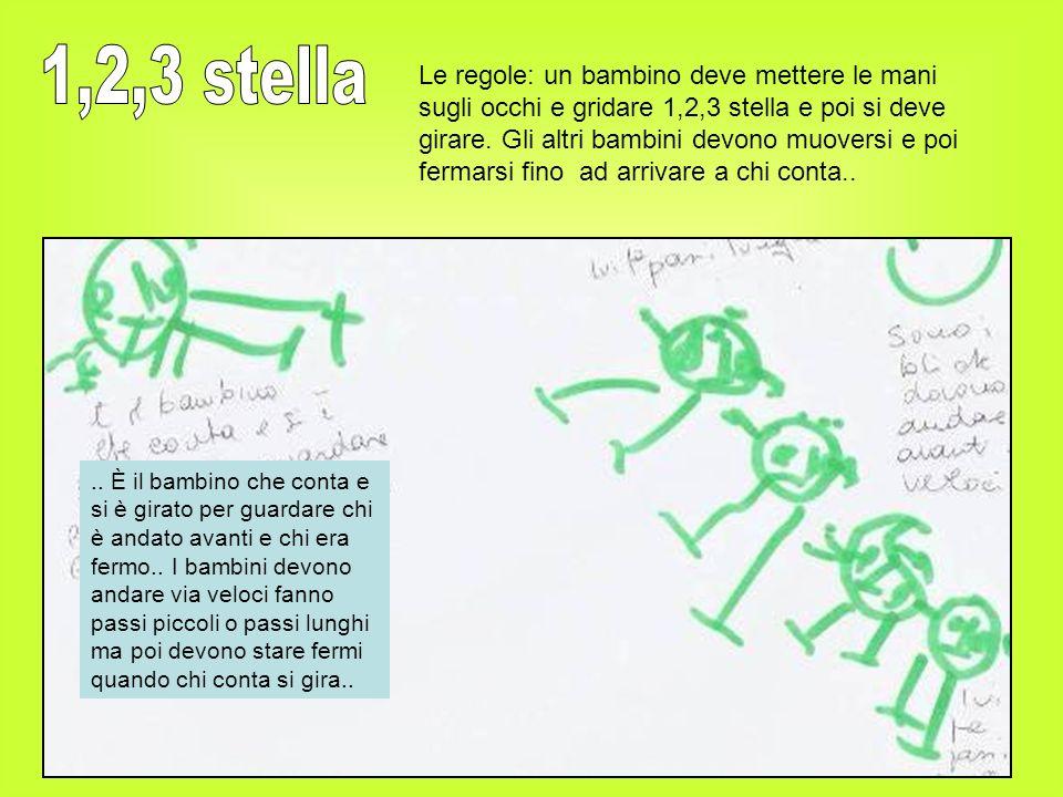 Le regole: un bambino deve mettere le mani sugli occhi e gridare 1,2,3 stella e poi si deve girare. Gli altri bambini devono muoversi e poi fermarsi f