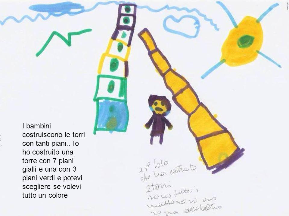 I bambini costruiscono le torri con tanti piani.. Io ho costruito una torre con 7 piani gialli e una con 3 piani verdi e potevi scegliere se volevi tu