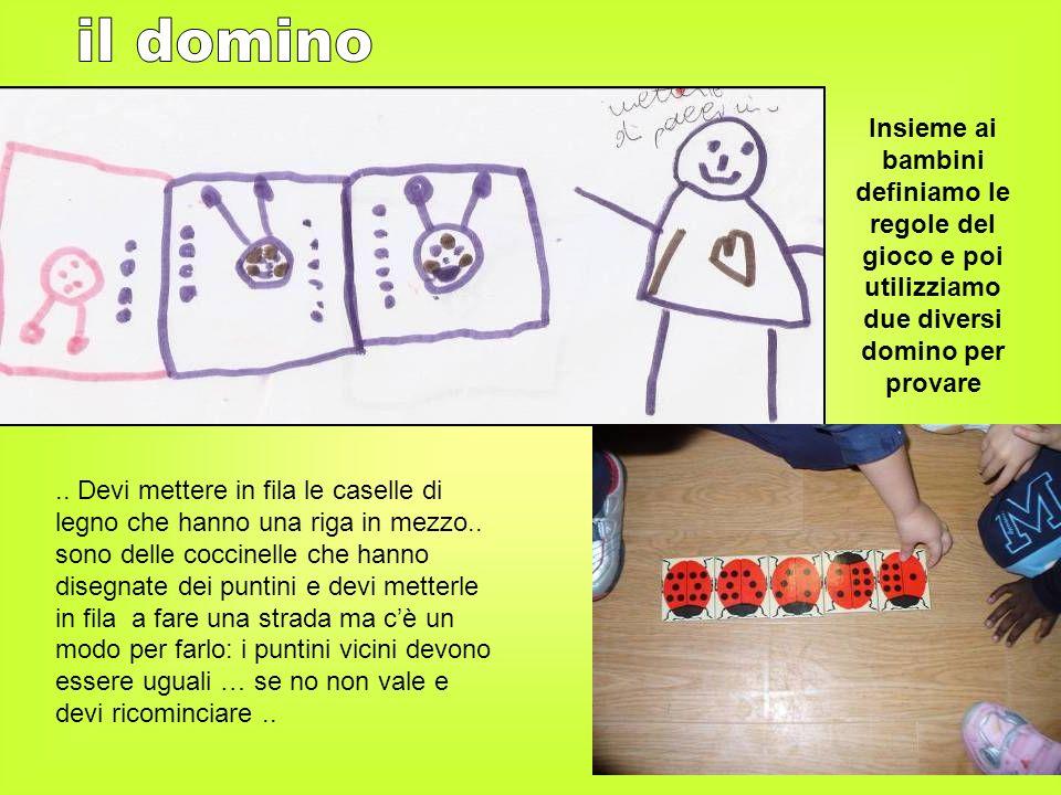 Insieme ai bambini definiamo le regole del gioco e poi utilizziamo due diversi domino per provare.. Devi mettere in fila le caselle di legno che hanno