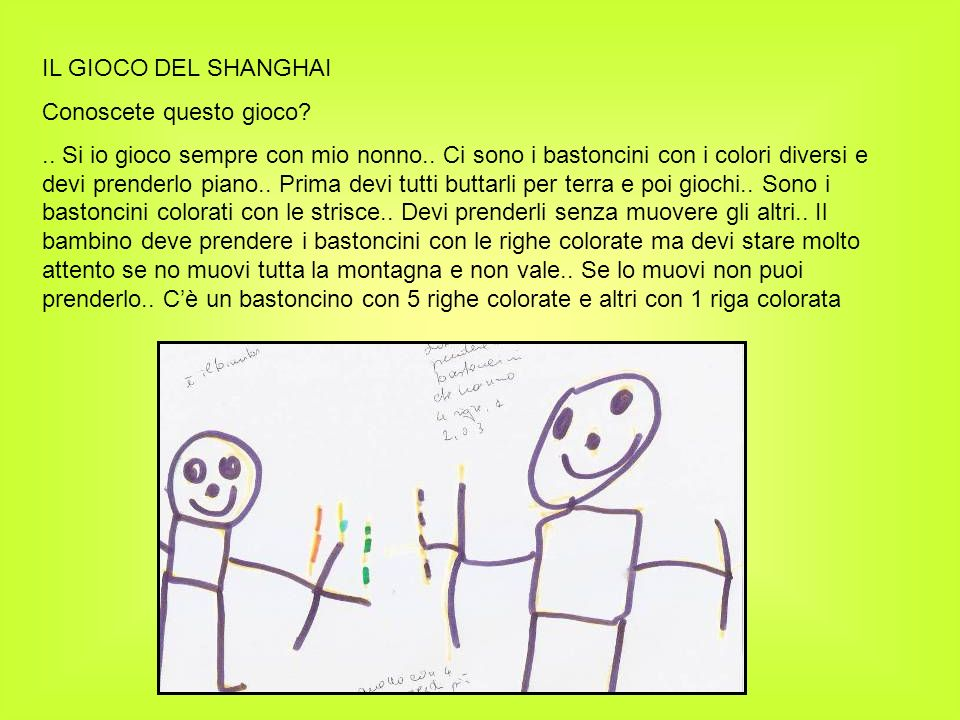 IL GIOCO DEL SHANGHAI Conoscete questo gioco?.. Si io gioco sempre con mio nonno.. Ci sono i bastoncini con i colori diversi e devi prenderlo piano..