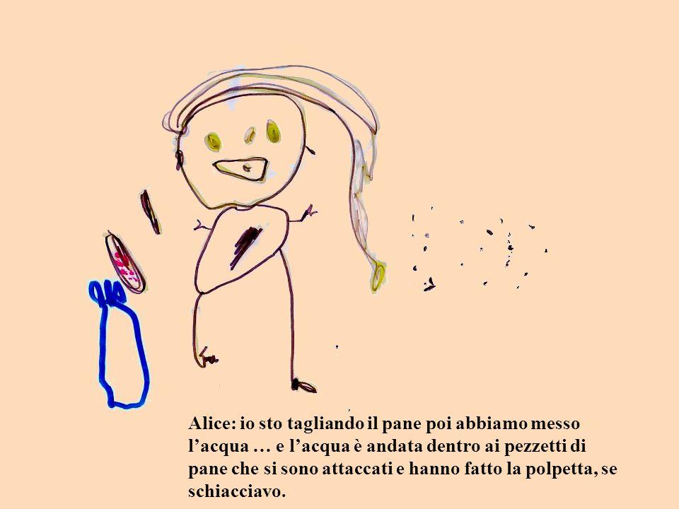 Alice: io sto tagliando il pane poi abbiamo messo lacqua … e lacqua è andata dentro ai pezzetti di pane che si sono attaccati e hanno fatto la polpetta, se schiacciavo.