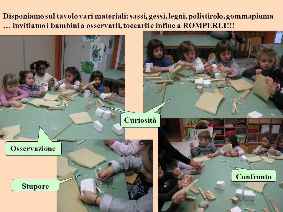 Disponiamo sul tavolo vari materiali: sassi, gessi, legni, polistirolo, gommapiuma … invitiamo i bambini a osservarli, toccarli e infine a ROMPERLI!!.