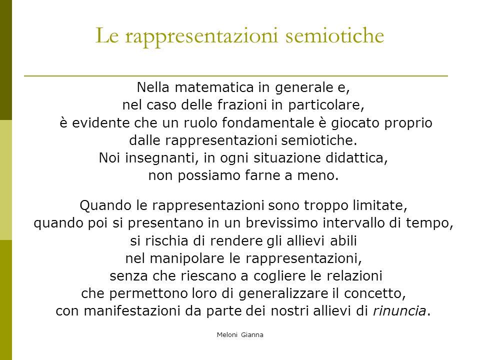 Meloni Gianna Le rappresentazioni semiotiche Nella matematica in generale e, nel caso delle frazioni in particolare, è evidente che un ruolo fondament