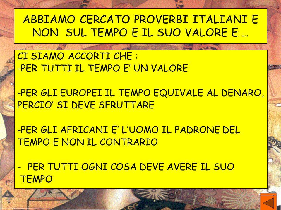 ABBIAMO CERCATO PROVERBI ITALIANI E NON SUL TEMPO E IL SUO VALORE E … CI SIAMO ACCORTI CHE : -PER TUTTI IL TEMPO E UN VALORE -PER GLI EUROPEI IL TEMPO