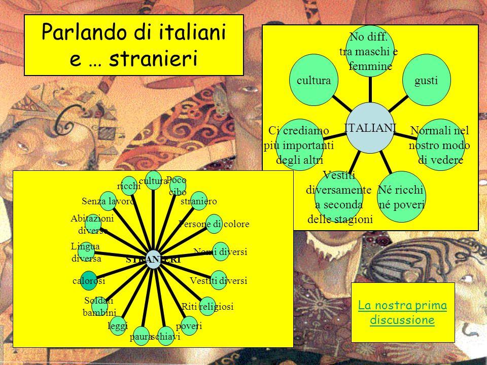 Parlando di italiani e … stranieri ITALIANI No diff. tra maschi e femmine gusti Normali nel nostro modo di vedere Né ricchi né poveri Vestiti diversam