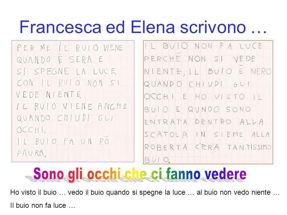 Francesca ed Elena scrivono … Ho visto il buio … vedo il buio quando si spegne la luce … al buio non vedo niente … Il buio non fa luce …