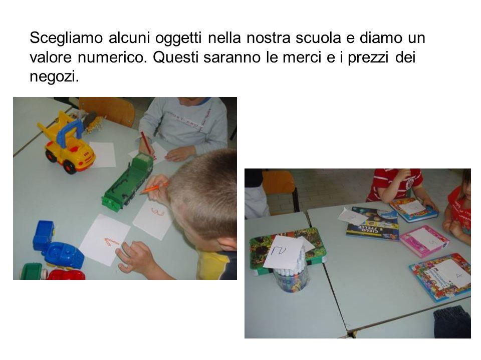 Scegliamo alcuni oggetti nella nostra scuola e diamo un valore numerico. Questi saranno le merci e i prezzi dei negozi.