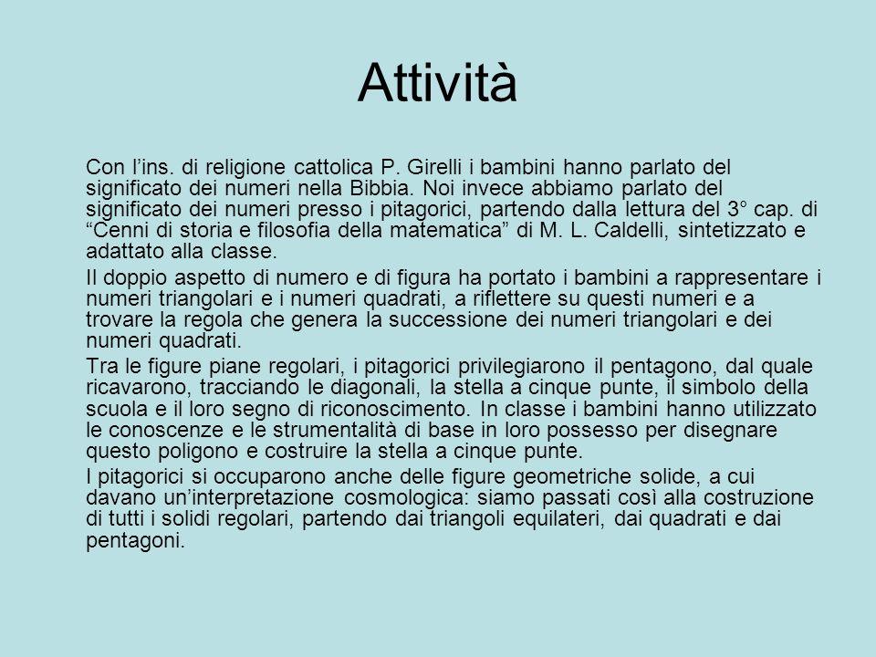 Attività Con lins. di religione cattolica P. Girelli i bambini hanno parlato del significato dei numeri nella Bibbia. Noi invece abbiamo parlato del s