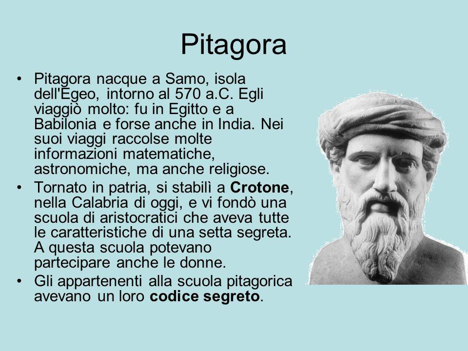 Pitagora Pitagora nacque a Samo, isola dell'Egeo, intorno al 570 a.C. Egli viaggiò molto: fu in Egitto e a Babilonia e forse anche in India. Nei suoi