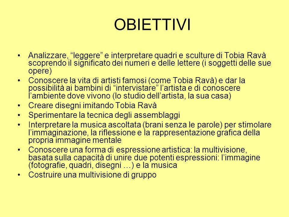 OBIETTIVI Analizzare, leggere e interpretare quadri e sculture di Tobia Ravà scoprendo il significato dei numeri e delle lettere (i soggetti delle sue