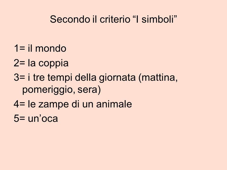 Secondo il criterio I simboli 1= il mondo 2= la coppia 3= i tre tempi della giornata (mattina, pomeriggio, sera) 4= le zampe di un animale 5= unoca
