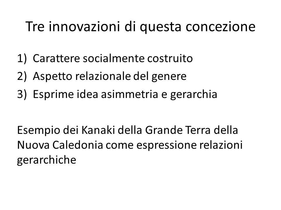 Tre innovazioni di questa concezione 1)Carattere socialmente costruito 2)Aspetto relazionale del genere 3)Esprime idea asimmetria e gerarchia Esempio