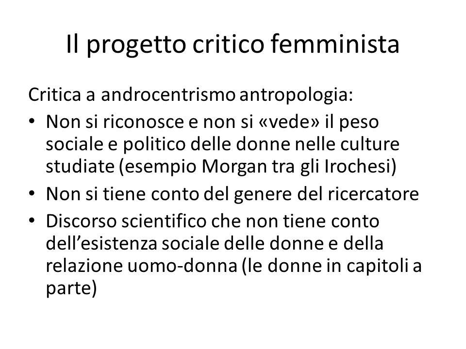 Il progetto critico femminista Critica a androcentrismo antropologia: Non si riconosce e non si «vede» il peso sociale e politico delle donne nelle cu